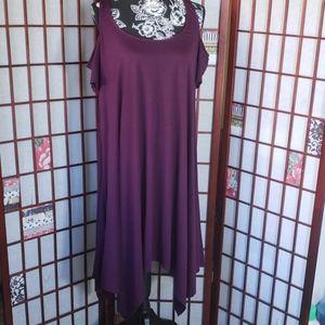 Torrid burgundy cold shoulder asymmetric dress 1